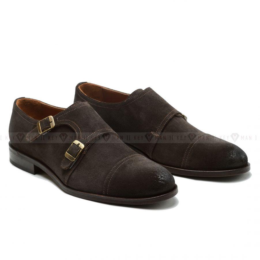 Туфли мужские дабл-монки замшевые коричневые
