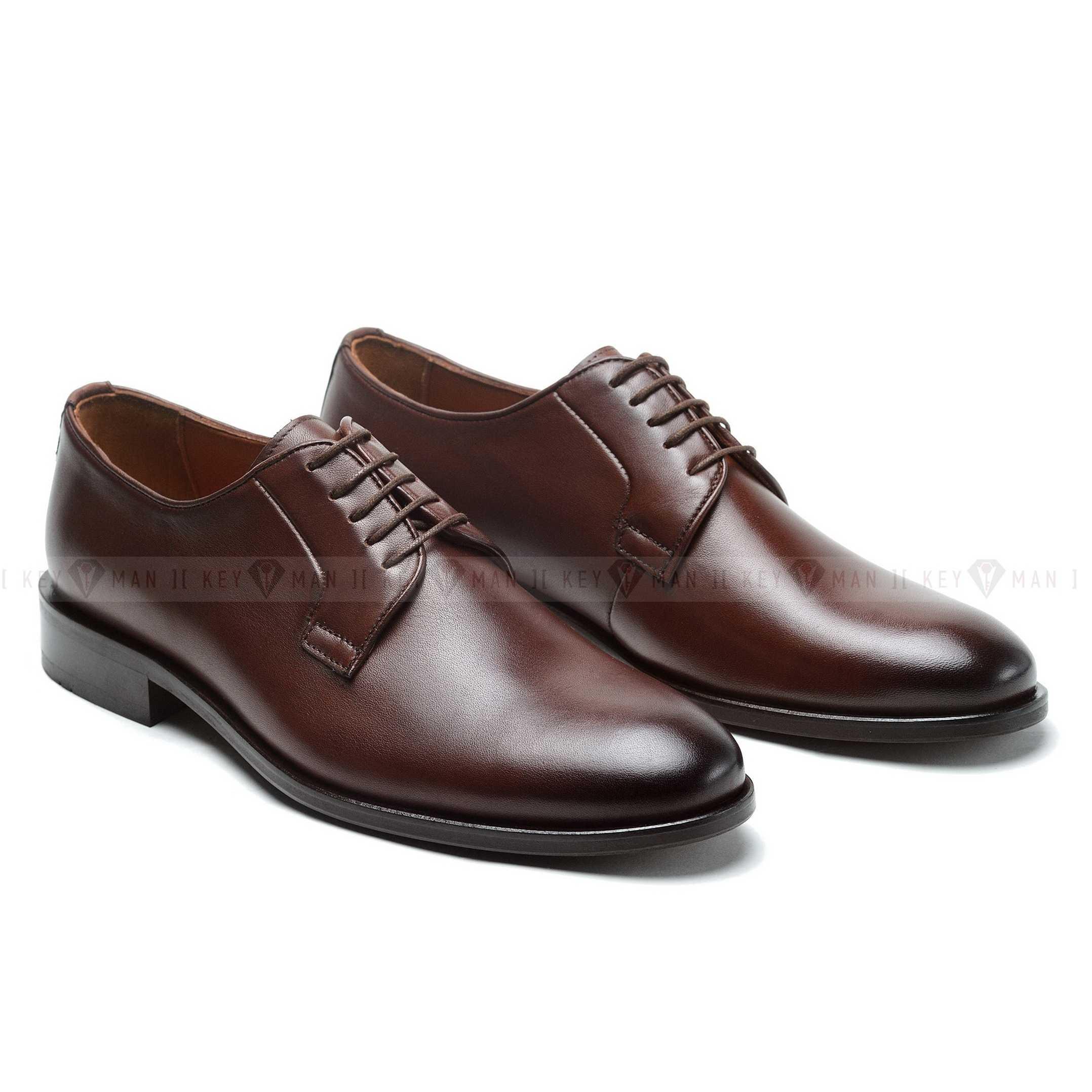 Туфли мужские дерби коричневые классические (DERBY PLAIN TOE)