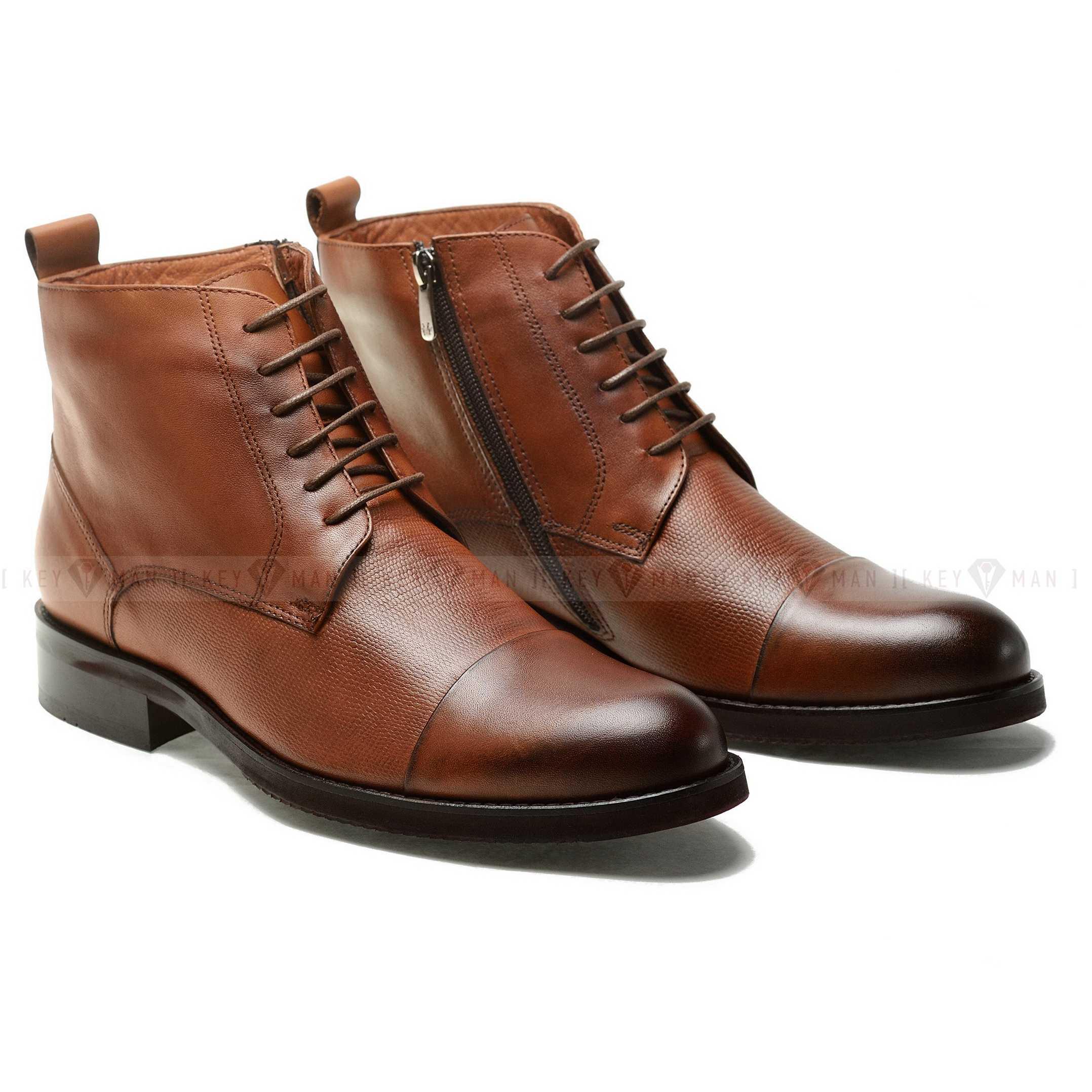 Ботинки мужские рыжие на шнурках с отрезным мысом (cap toe boots)