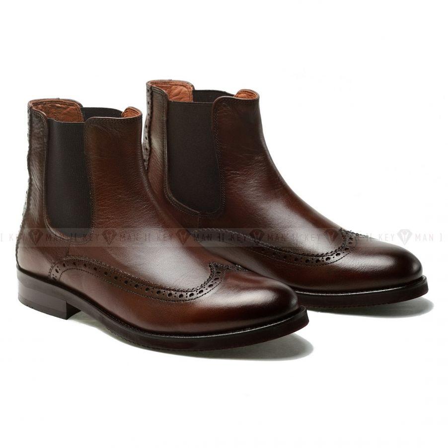 Ботинки мужские челси полуброги коричневые