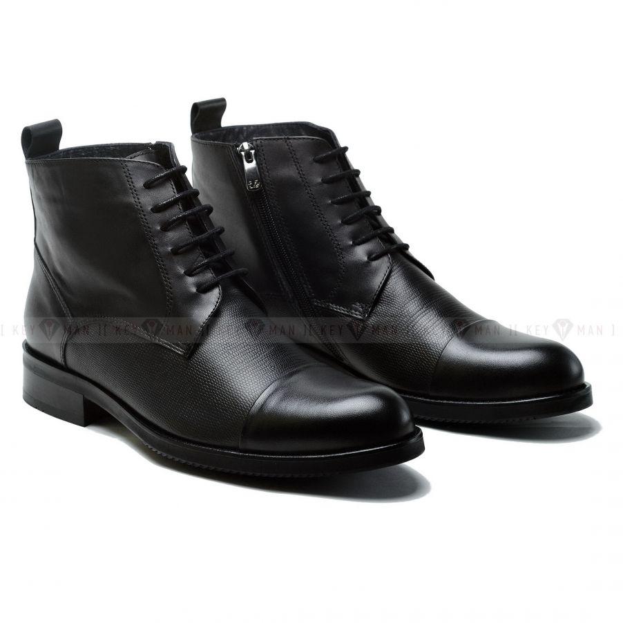 Ботинки мужские черные на шнурках с отрезным мысом (cap toe boots)