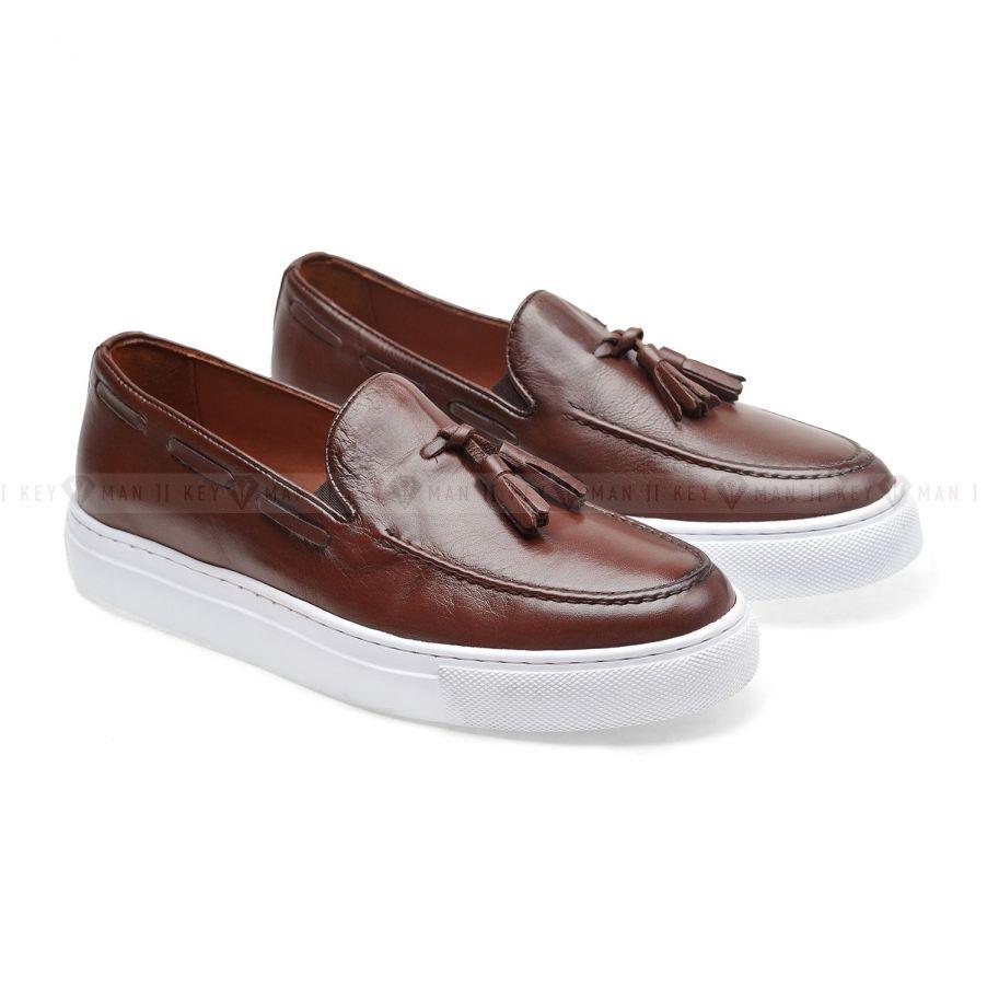 Туфли мужские слипоны коричневые с кисточками