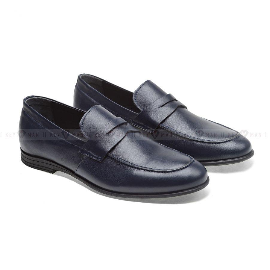Туфли мужские лоферы синие (Penny Loafers)