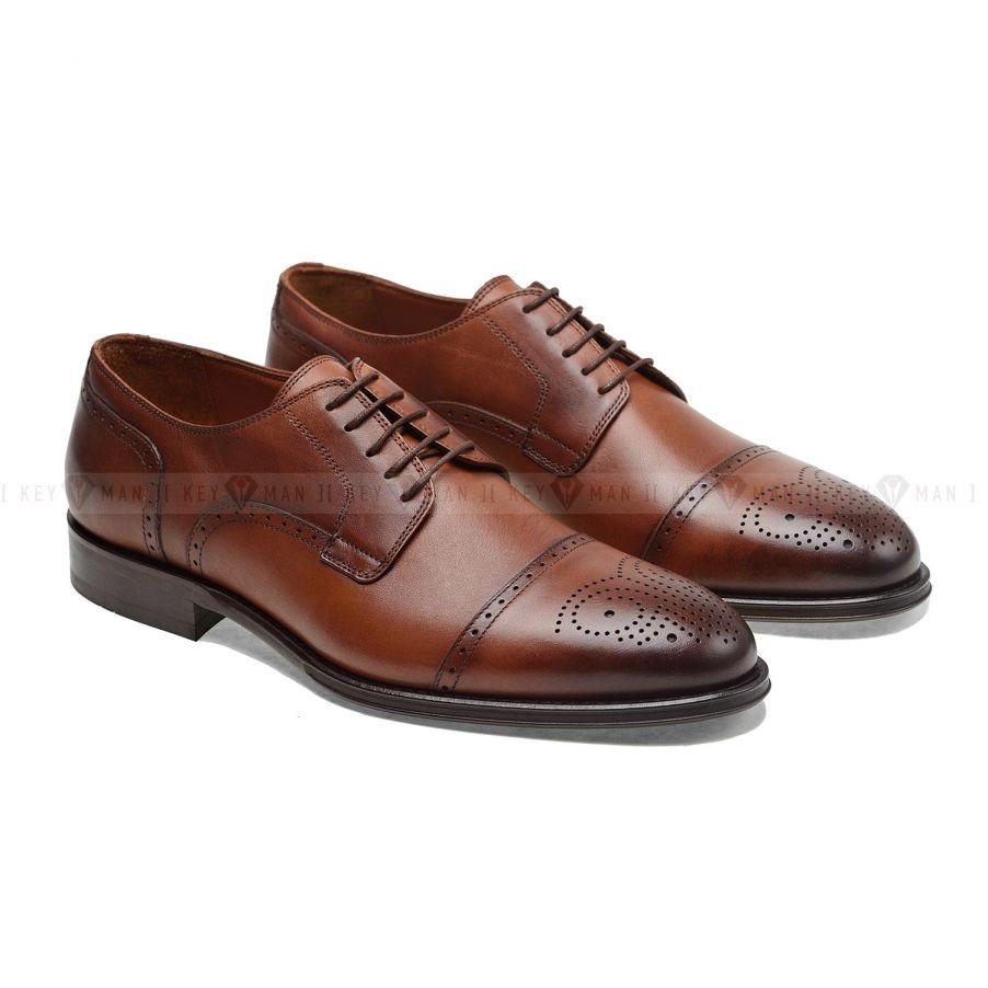 Туфли мужские дерби броги рыжие с медальоном на мыске обуви