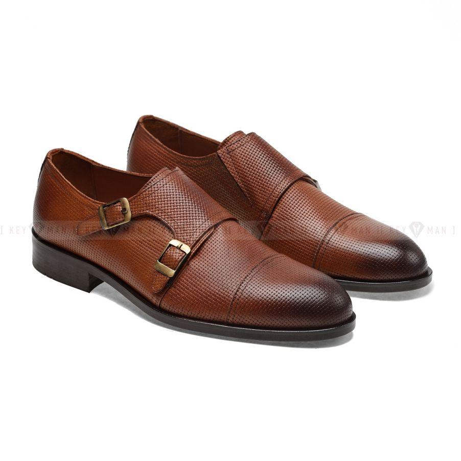 Туфли мужские дабл-монки рыжие с декоративным тиснением