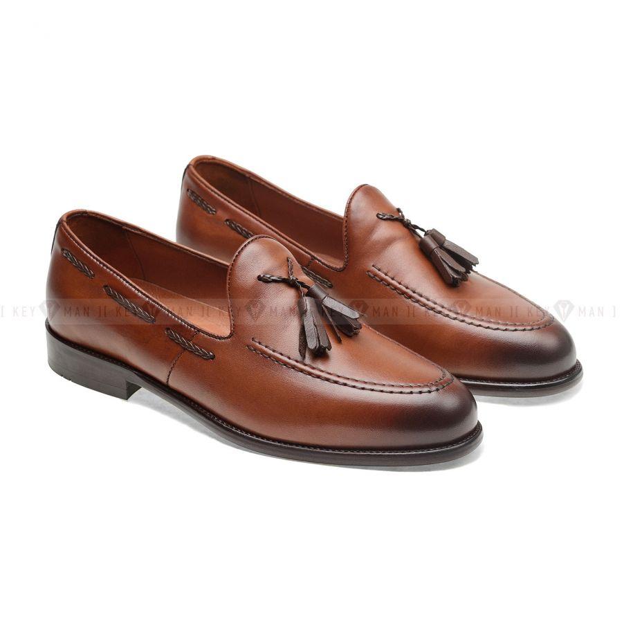 Туфли мужские лоферы с кисточками рыжие (Tassel Loafers)