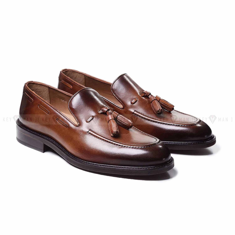 Туфли мужские лоферы с кисточками рыжие из гладкой кожи