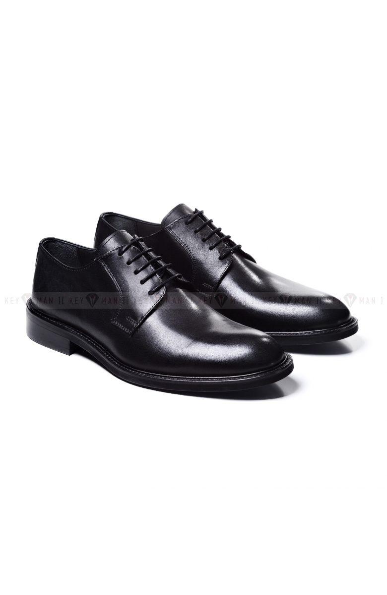 Туфли мужские дерби классические черные из гладкой кожи