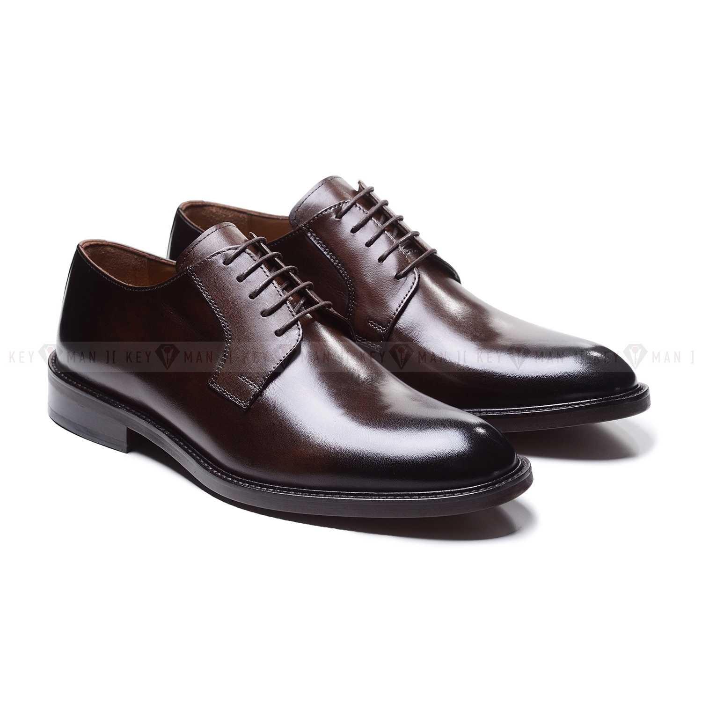 Туфли мужские дерби классические коричневые из гладкой кожи