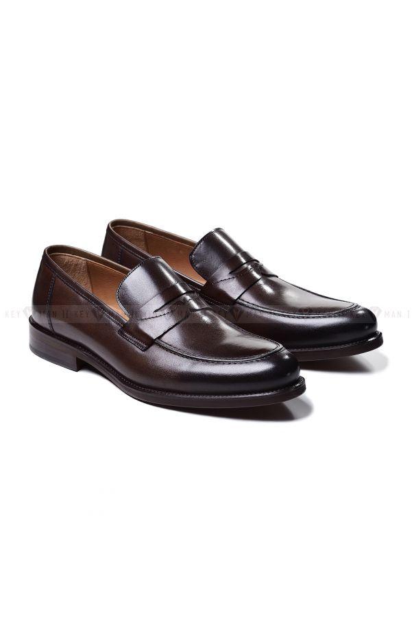 Туфли мужские пенни-лоферы коричневые из гладкой кожи