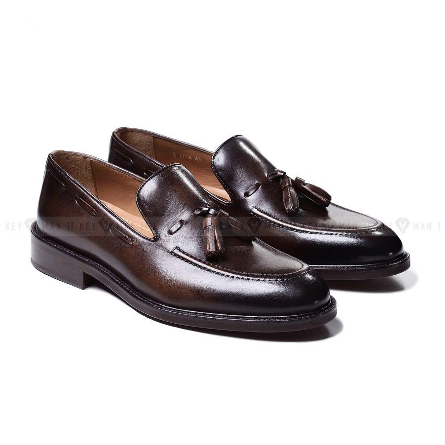 Туфли мужские лоферы с кисточками коричневые из гладкой кожи