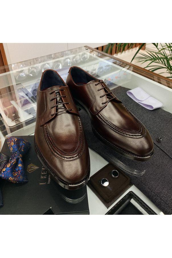 Туфли мужские дерби норвиджен коричневые на кожаной подошве (Norwegian Toe)