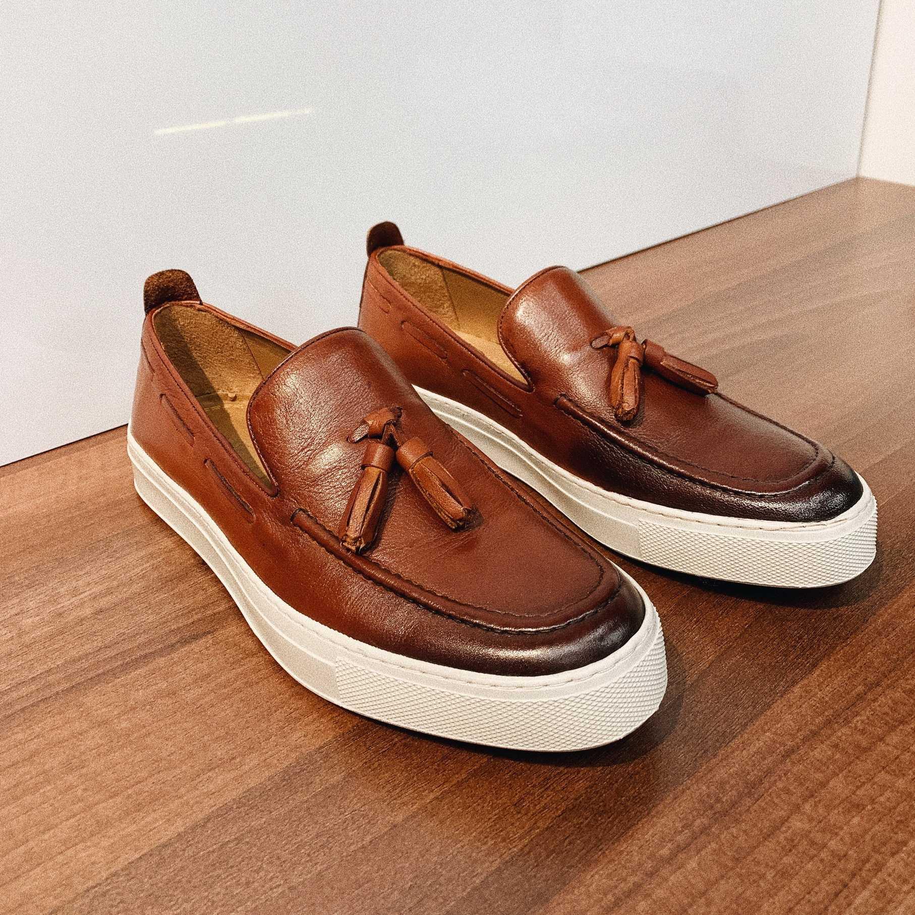 Туфли мужские слипоны рыжие с кисточками
