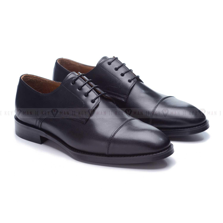 Туфли мужские дерби с отрезным мысом черные на кожаной подошве