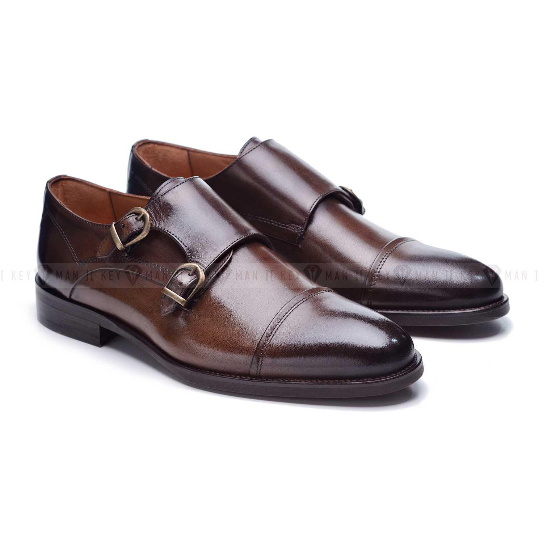 Туфли мужские дабл-монки коричневые