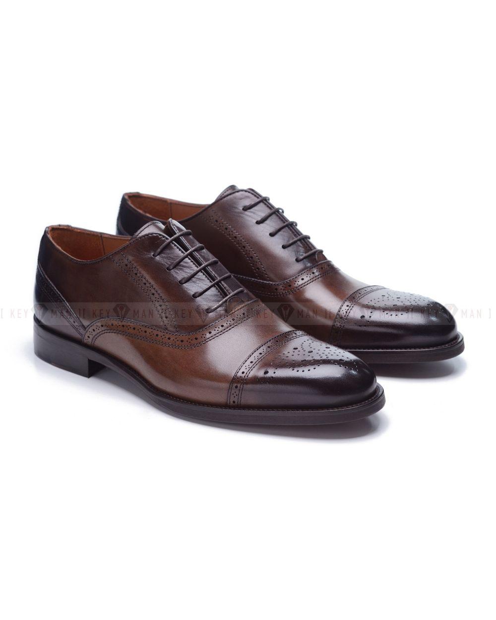 Туфли мужские оксфорды броги коричневые