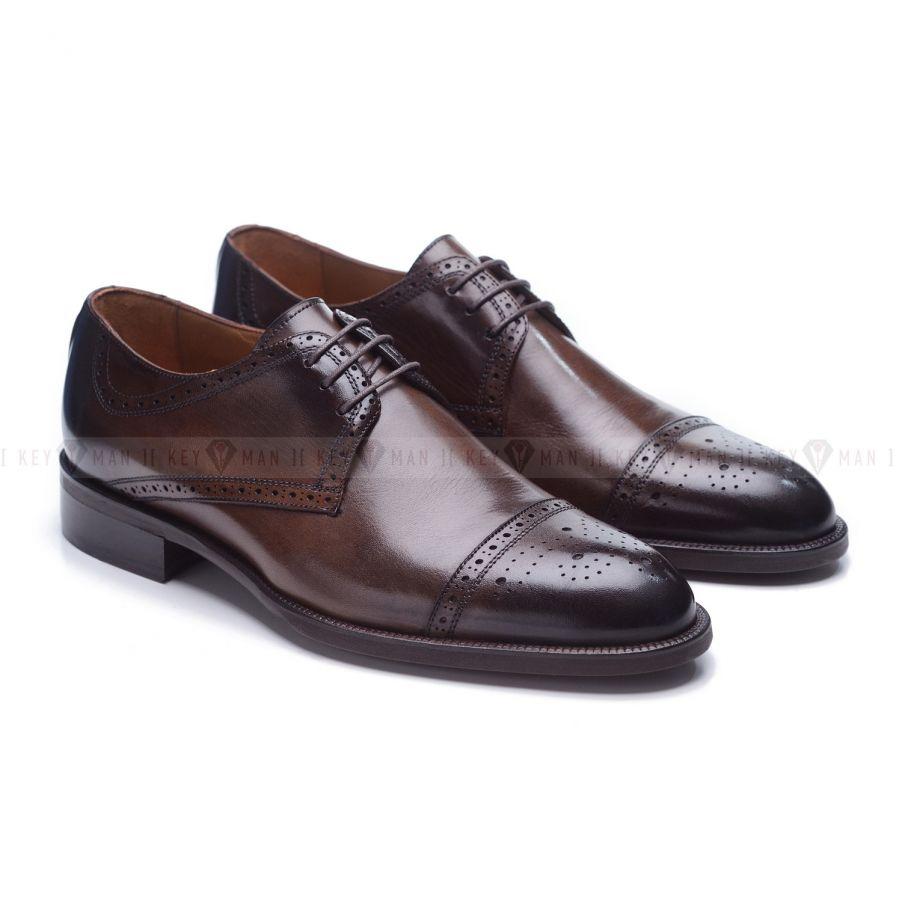 Туфли мужские дерби броги коричневые