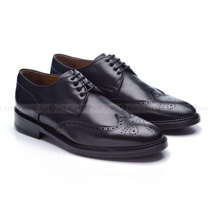 Туфли мужские дерби броги черные на кожаной подошве с профилактикой