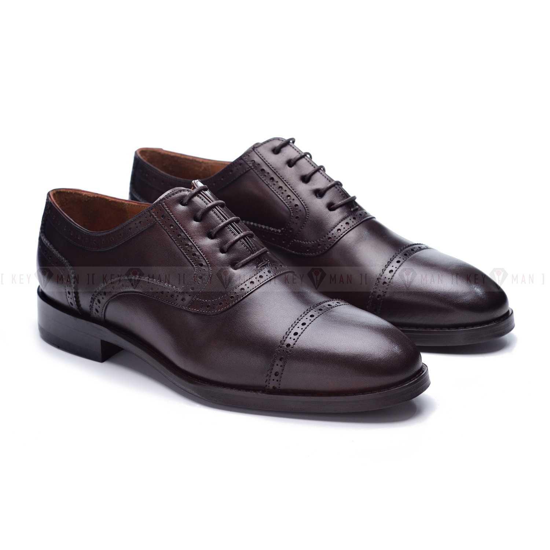 Туфли мужские оксфорды броги темно-коричневые резные на кожаной подошве
