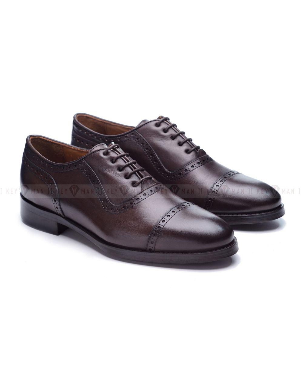 Туфли мужские оксфорды броги темно-коричневые на кожаной подошве