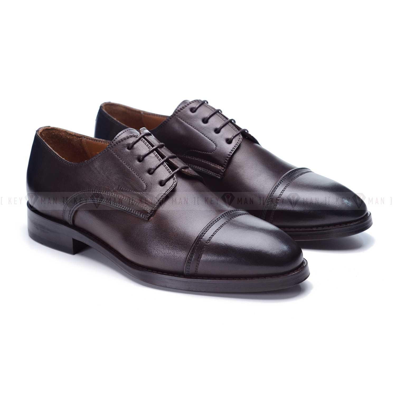 Туфли мужские дерби с отрезным мысом темно-коричневые на кожаной подошве