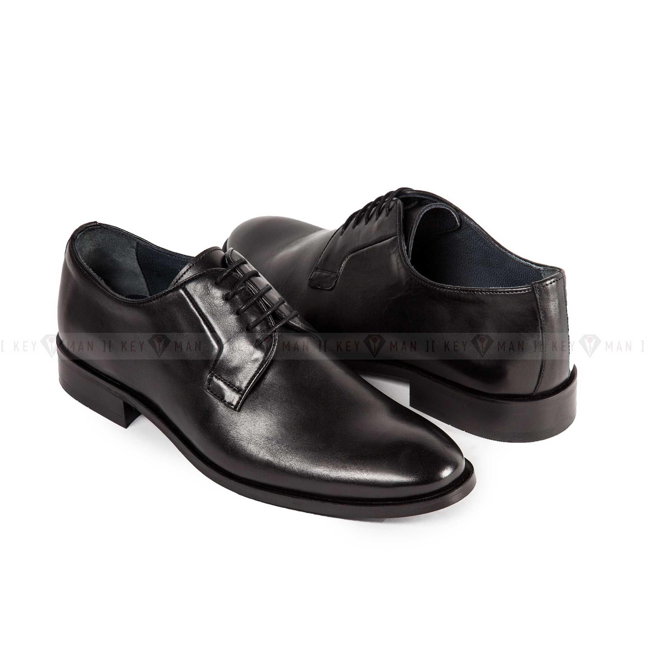 Туфли мужские дерби черные классические (Plain Toe Blucher)