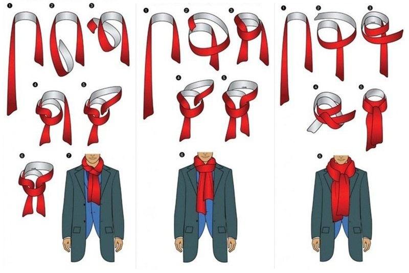 Способы завязывания шарфа в картинках для мужчин